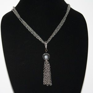 Vintage silver chain necklace with tassel